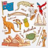 Le icone della natura e della cultura dell'Australia scarabocchiano l'illustrazione stabilita di vettore Fotografia Stock