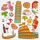 Le icone della natura e della cultura dell'Italia scarabocchiano l'illustrazione stabilita di vettore Immagine Stock