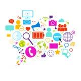 Le icone della rete internet di concetto di Media Communication del sociale della bolla di chiacchierata hanno messo il collegame Fotografie Stock