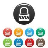Le icone della serratura hanno fissato il colore royalty illustrazione gratis