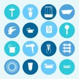 le icone della stanza da bagno hanno impostato attrezzatura domestica Illustrazione Immagine Stock Libera da Diritti