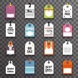 Le icone delle etichette di simbolo dell'etichetta del testo di vendita dei prezzi hanno messo l'illustrazione di vettore del mod Immagini Stock