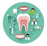Le icone dentarie piane moderne hanno messo con effetto ombra lungo Immagini Stock Libere da Diritti