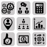 Le icone di affari hanno messo, gestione e risorse umane Immagini Stock