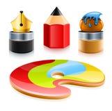 Le icone di arte lavora la matita e la spazzola della penna Fotografia Stock