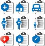 Le icone di assicurazione di vettore hanno messo, assicurazione della famiglia, l'assicurazione domestica, l'assicurazione automa Fotografia Stock