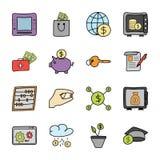 Le icone di attività bancarie e di finanza impacchettano royalty illustrazione gratis