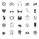 Le icone di benessere con riflettono su fondo bianco Immagini Stock Libere da Diritti