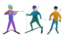 Le icone di biathlon hanno messo, stile del fumetto illustrazione di stock