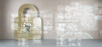 Le icone di Cadena nell'interno con il web collegano la rappresentazione 3D Fotografia Stock Libera da Diritti
