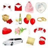 Le icone di cerimonia nuziale e di amore hanno impostato Fotografia Stock Libera da Diritti