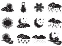 Le icone di colore del tempo del giorno di notte hanno fissato il nero isolato su fondo bianco Fotografie Stock Libere da Diritti