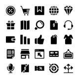 Le icone di commercio elettronico imballano illustrazione di stock