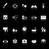 Le icone di comportamento di salute con riflettono su fondo nero Fotografia Stock Libera da Diritti