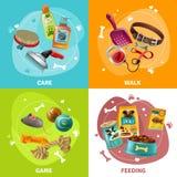 Le icone di concetto 4 di cura di animale domestico quadrano la progettazione illustrazione di stock