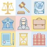 Le icone di contorno di legge hanno messo nello stile piano di progettazione royalty illustrazione gratis