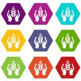 Le icone di difesa delle colture hanno fissato il vettore 9 illustrazione di stock
