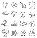 Le icone di disastro o di Armageddon assottigliano la linea insieme dell'illustrazione di vettore illustrazione di stock