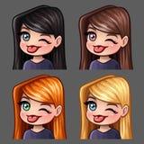 Le icone di emozione sbatte le palpebre e mostra la femmina della lingua con i capelli lunghi per le reti sociali e gli autoadesi illustrazione di stock