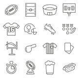 Le icone di football americano o di calcio assottigliano la linea insieme dell'illustrazione di vettore Immagine Stock Libera da Diritti