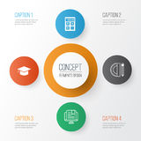 Le icone di formazione hanno impostato Raccolta della graduazione, dello strumento elettronico, degli strumenti di istruzione e d illustrazione di stock