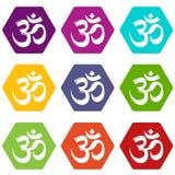Le icone di hinduism di simbolo del OM hanno fissato il vettore 9 illustrazione vettoriale