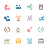 Le icone di istruzione & della scuola hanno messo 3 - serie colorata Immagine Stock Libera da Diritti