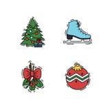 Le icone di Natale mettono, vector le illustrazioni di colore di colore e del profilo Illustrazione di Stock