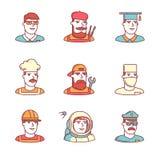 Le icone di passi di professioni della gente assottigliano la linea insieme Fotografie Stock Libere da Diritti