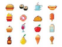 Le icone di progettazione del computer dell'alimento di arte del pixel vector grafico di web pixelated ristorante del gioco degli Immagine Stock Libera da Diritti