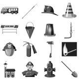 Le icone di protezione antincendio hanno messo, stile monocromatico grigio Immagini Stock Libere da Diritti