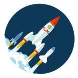 Le icone di Rocket iniziano su e lanciano il simbolo per nuovo Fotografie Stock Libere da Diritti