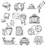 Le icone di servizi degli esercizi alberghieri scarabocchiano lo stile disegnato a mano Immagini Stock Libere da Diritti