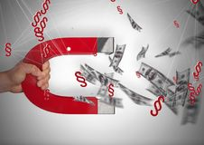 le icone di simbolo della sezione 3D con le note dei soldi ed il magnete tirano Fotografie Stock Libere da Diritti