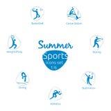 Le icone di sport dell'estate hanno messo, 1 di 6, illustrazione di vettore Immagini Stock Libere da Diritti