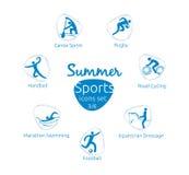 Le icone di sport dell'estate hanno messo, 3 di 6, illustrazione di vettore Fotografia Stock Libera da Diritti