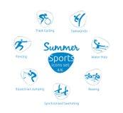 Le icone di sport dell'estate hanno messo, 4 di 6, illustrazione di vettore, modello Fotografia Stock