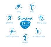 Le icone di sport dell'estate hanno messo, 5 di 6, illustrazione di vettore, modello Fotografia Stock Libera da Diritti