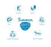 Le icone di sport dell'estate hanno messo, 6 di 6, illustrazione di vettore, modello Immagine Stock