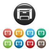 Le icone di stampante hanno fissato il colore illustrazione di stock