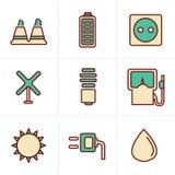 Le icone di stile delle icone disegnano l'energia nera di eco di vettore Immagini Stock
