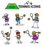 Le icone di tennis mettono in mostra gli emblemi, illustrazione di vettore Fotografia Stock Libera da Diritti