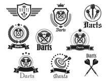 Le icone di vettore hanno messo per il torneo di sport del club dei dardi illustrazione vettoriale