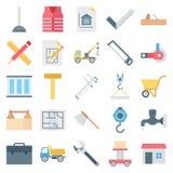 Le icone di vettore isolate costruzione messe consistono camion, minatore, parete, strumenti, barriera, cono, traffico, costruzio illustrazione di stock