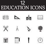 Le icone di vettore di istruzione hanno messo, raccolta solida di simbolo, pict della scuola illustrazione vettoriale
