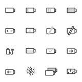 Le icone di vettore messe hanno caricato e scaricato la batteria o l'accumulatore su un fondo leggero Immagine Stock