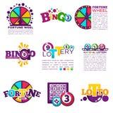 Le icone di vettore di vittoria di lotteria del lotto di bingo hanno fissato i numeri del wineer di posta Fotografia Stock