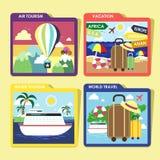 Le icone di viaggio di concetto del mondo hanno messo nella progettazione piana Fotografia Stock Libera da Diritti