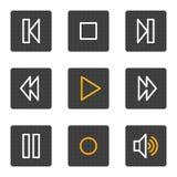 Le icone di Web del walkman, grey abbottona la serie Immagine Stock