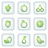 Le icone di Web della frutta, quadrato bianco abbottona la serie Immagine Stock Libera da Diritti